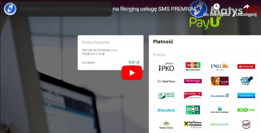 Kradzież konta BANKOWEGO metodą na fikcyjną usługę SMS PREMIUM – zobacz jak to działa